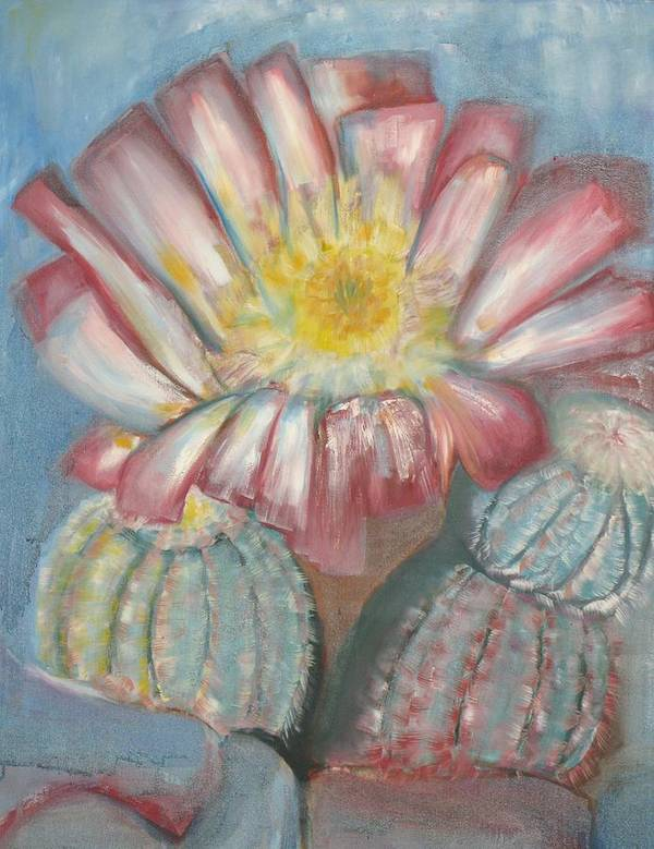 Cactus In Blume Poster featuring the painting Cactus On The Rocks by Kathy Mitchell