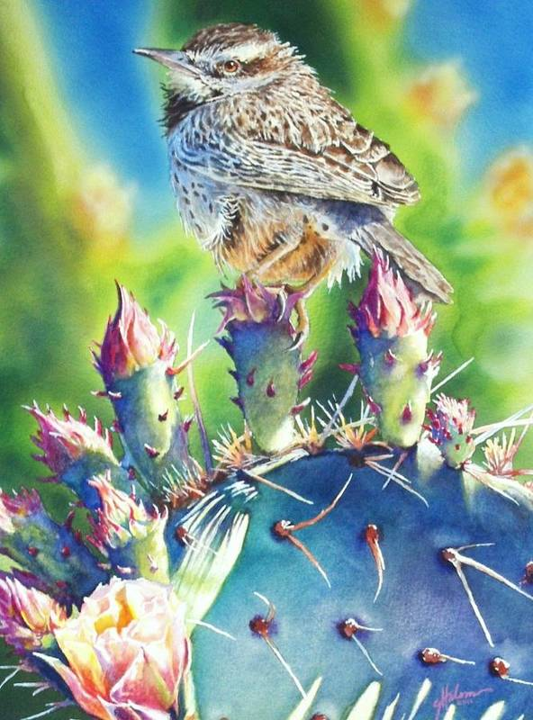 Wren Poster featuring the painting Cactus Wren by Greg and Linda Halom