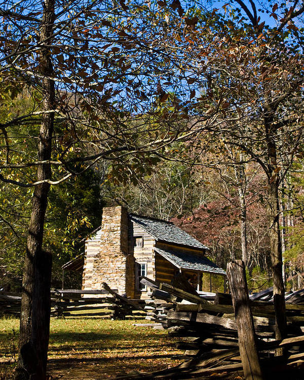 Cades Poster featuring the photograph Cades Cove Early Settler Cabin by Douglas Barnett
