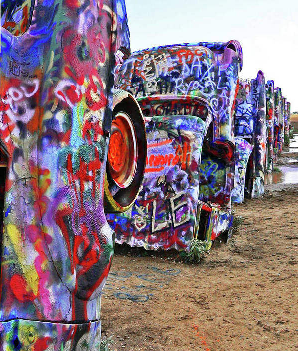 Cars Poster featuring the photograph Cadillac Ranch by Angela Wright