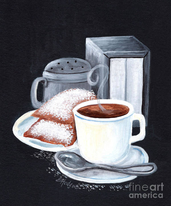 New Orleans Poster featuring the painting Cafe Du Monde On Black by Elaine Hodges