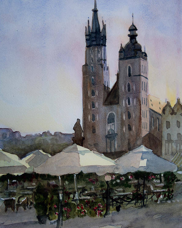 Krakow Poster featuring the painting Cafe In Main Square Krakow by John Cox