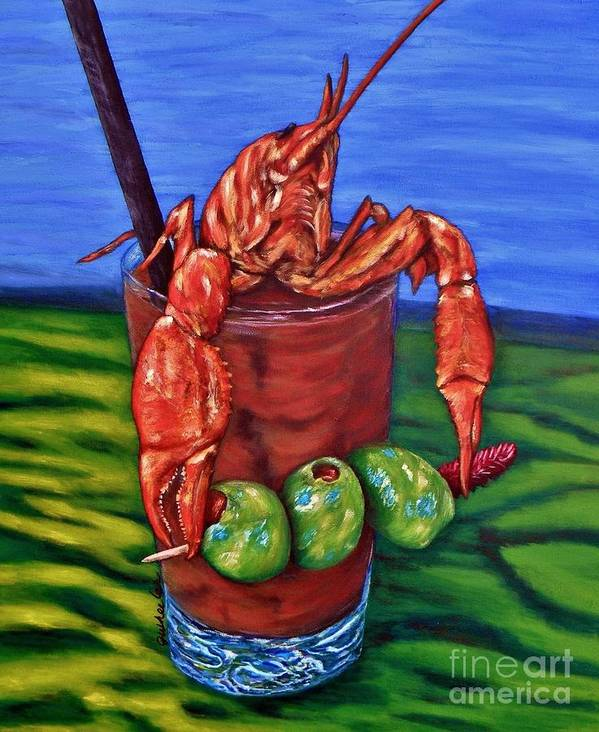 Crawfish Poster featuring the painting Cajun Cocktail by JoAnn Wheeler