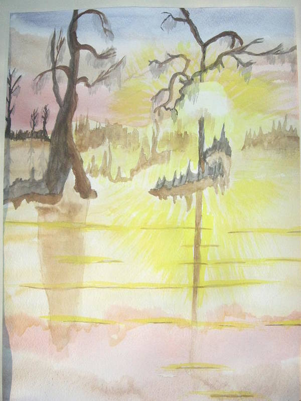 Landscape Watercolor Poster featuring the painting Cajun Sunrise by Warren Thompson