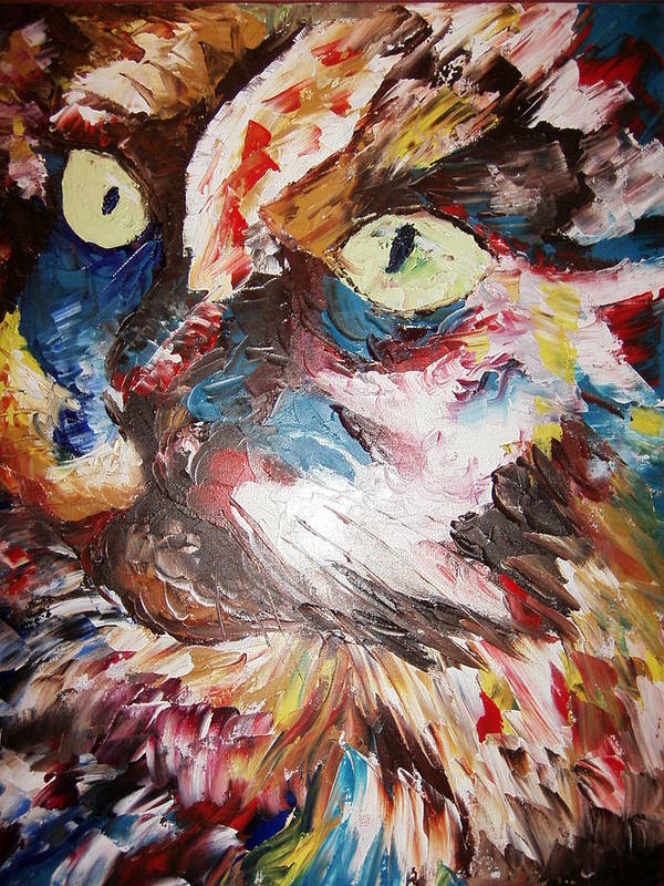 Painting.oil.acrylic Poster featuring the painting Calico Cat by Adeniyi Peter