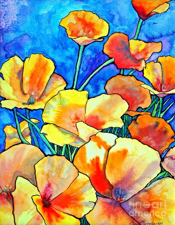 Floral Poster featuring the painting California Poppies by Gail Zavala