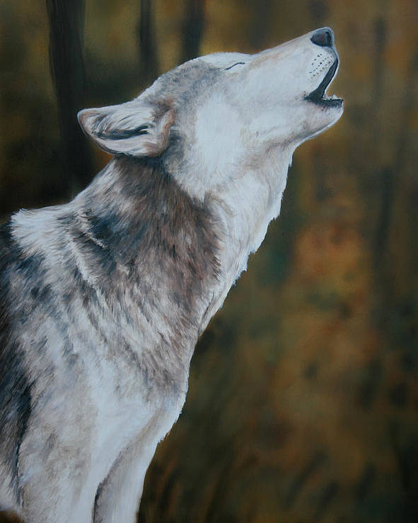 Wolf Poster featuring the painting Call Of The Wild by Charlotte Yealey