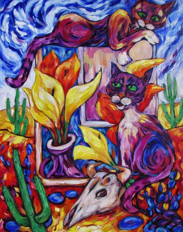 Diconnollyart Poster featuring the painting Calla Cacti Cat Izona by Dianne Connolly