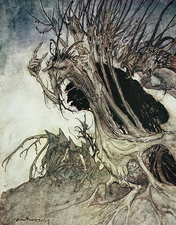 Arthur Rackham Poster featuring the drawing Calling Shapes And Beckoning Shadows Dire by Arthur Rackham