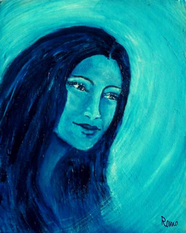 Portrait Poster featuring the painting Calming Blues by Robin Monroe
