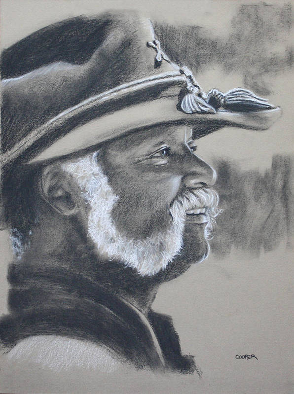 Portrait Poster featuring the drawing Calvin Cotton by Todd Cooper