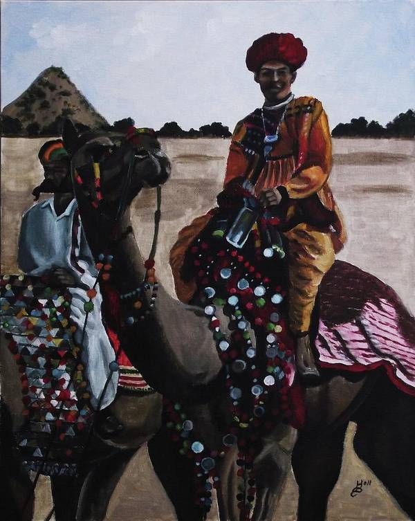 Acrylic Poster featuring the painting Camel Fair by Kim Selig