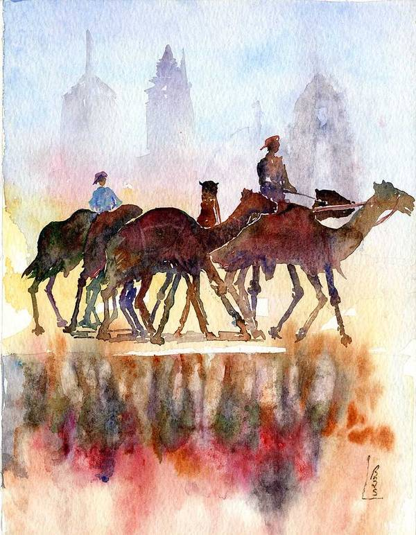 Camels Poster featuring the painting Camelrider by Beena Samuel