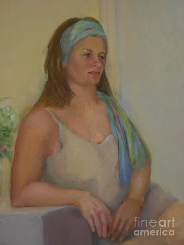 Impressionist Portrait Poster featuring the painting Cami in Blue             copyrighted by Kathleen Hoekstra