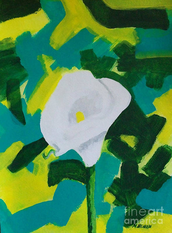 Painting Poster featuring the painting Camo Calla Lilly by Marsha Heiken