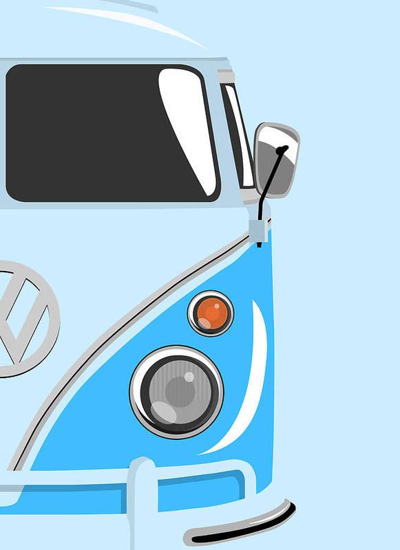 Vw Camper Van Poster featuring the digital art Camper Blue 2 by Michael Tompsett