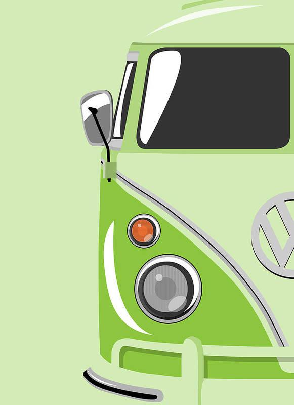 Vw Camper Van Poster featuring the digital art Camper Green by Michael Tompsett