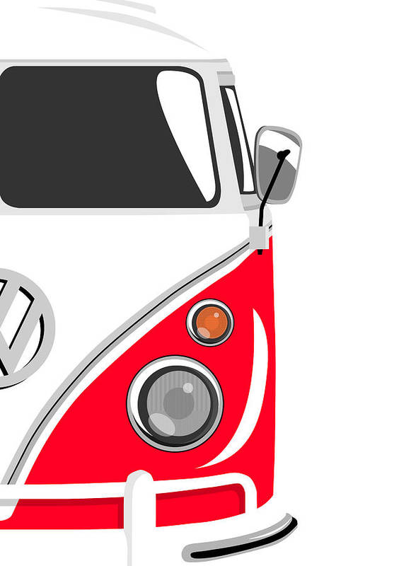 Vw Camper Van Poster featuring the digital art Camper Red 2 by Michael Tompsett