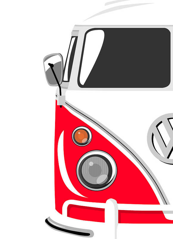 Vw Camper Van Poster featuring the digital art Camper Red by Michael Tompsett