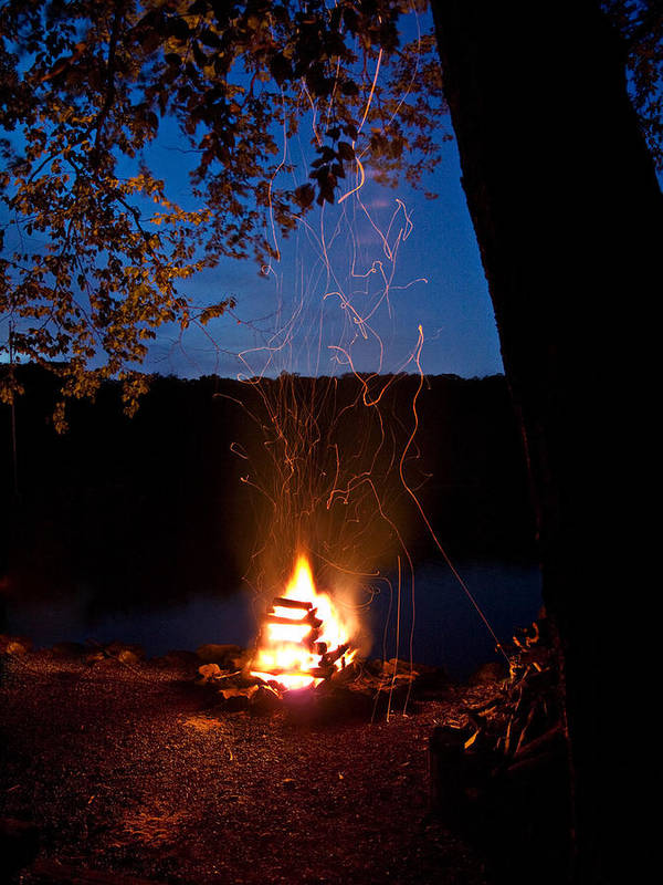 Campfire Poster featuring the photograph Campfire At Dusk by Jim DeLillo