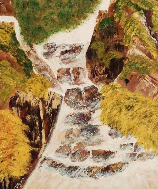 Waterfalls Poster featuring the painting Camping by Ofelia Uz