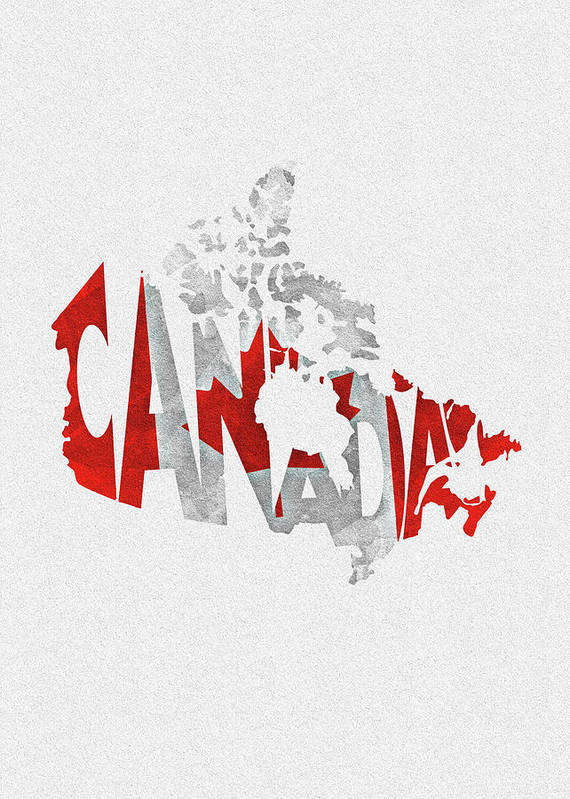 Canada Map Flag.Canada Typographic Map Flag Poster By Inspirowl Design