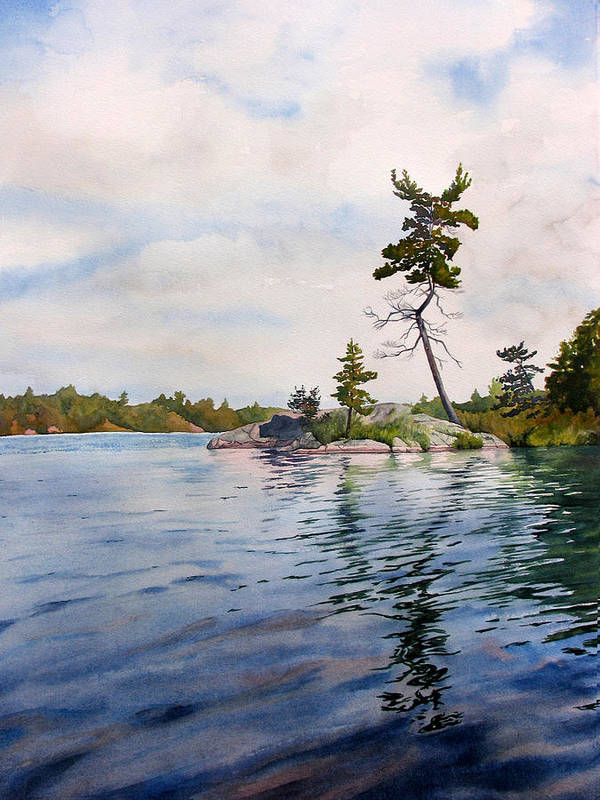 Lake Poster featuring the painting Canadian Shield Sculpture by Debbie Homewood