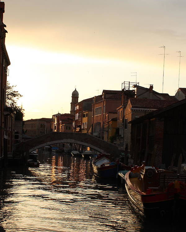 Venice Poster featuring the photograph Canal In Venice At Sunset by Michael Henderson