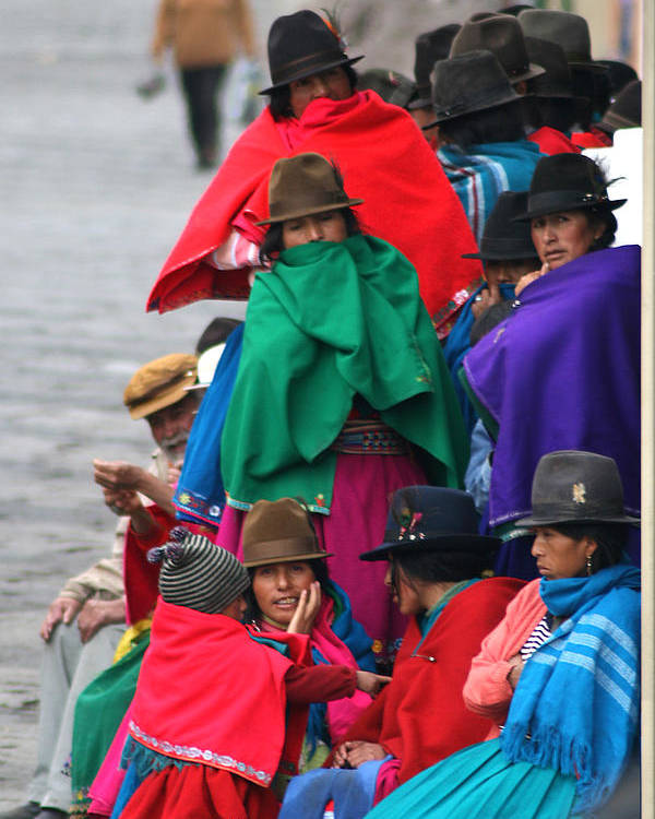 Canar Poster featuring the photograph Canari Queue In Felt Hats Bright Cloaks Alausi Ecuador by Jane McDougall