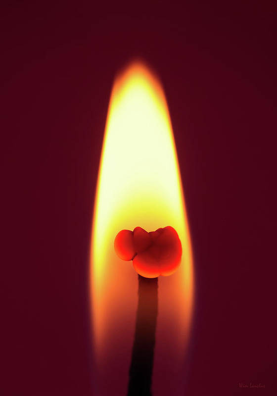 Candle Poster featuring the photograph Candle Flame Macro by Wim Lanclus