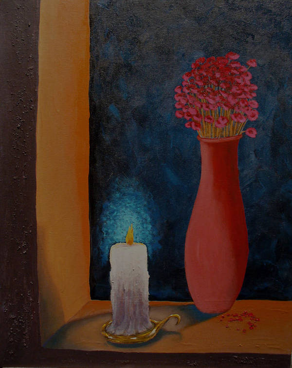 Still Life Poster featuring the painting Candle In The Window by Arnold Isbister
