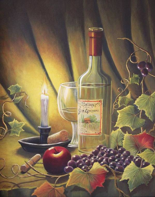 Candle Poster featuring the painting Candlelight Wine And Grapes by Diana Miller