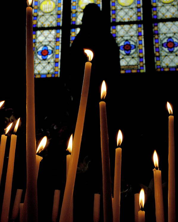 Basilica Poster featuring the photograph Candles Burning Inside The Basilica Of The Saint Sauveur by Sami Sarkis