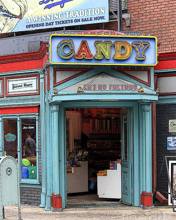 Candy Store Poster featuring the photograph Candy Store Cartoon by Sophie Vigneault