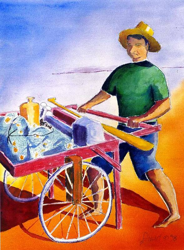 Fisherman Poster featuring the painting Canoe Fisherman With Cart by Buster Dight