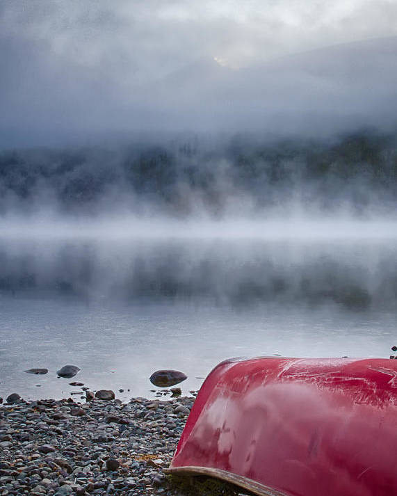 Red Poster featuring the photograph Canoe by Jayme Spoolstra