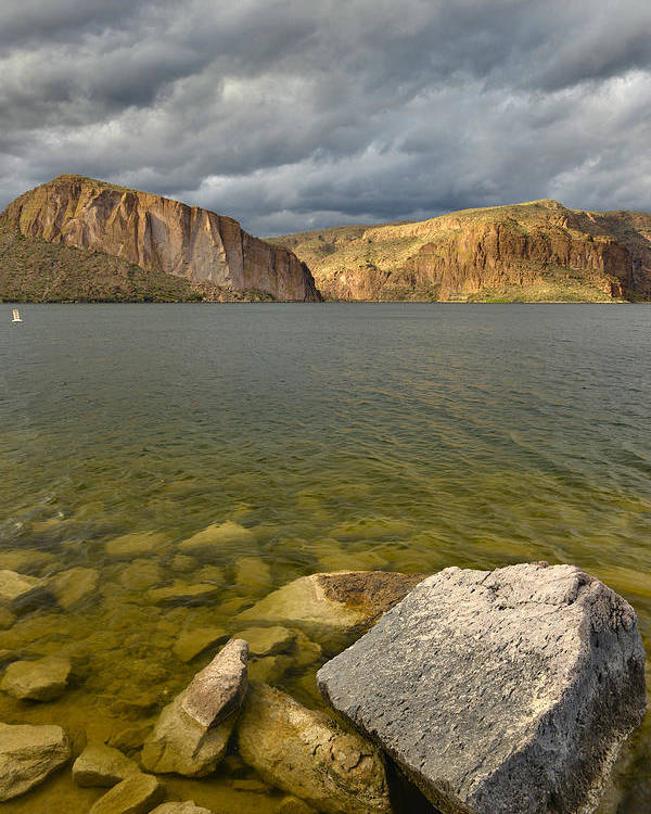 Canyon Lake Poster featuring the photograph Canyon Lake Stormy Sky by Dean Hueber