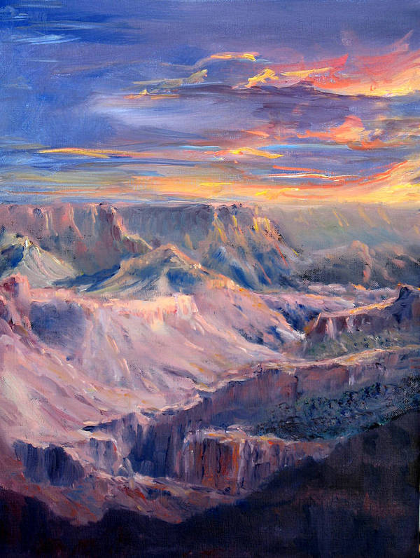 Grand Canyon Poster featuring the painting Canyon Twilight by Thomas Restifo