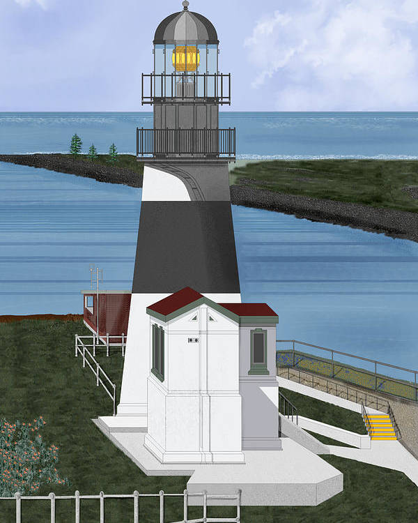Lighthouse Poster featuring the painting Cape Disappointment At Fort Canby Washington by Anne Norskog