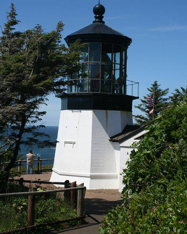 Lighthouse Poster featuring the photograph Cape Meares Lighthouse Li 100 by Mary Gaines
