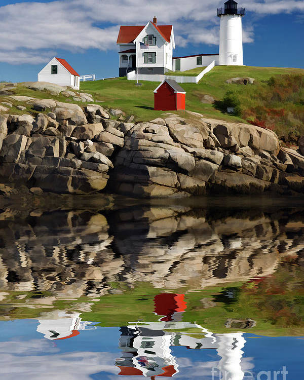 Painting Poster featuring the photograph Cape Neddick Reflection - D003756a by Daniel Dempster