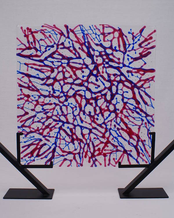 Fused Glass Red Blue Cranberry Royal Net Network Capillaries Stand Standing standing Art Poster featuring the glass art Capillaries by Louis Copper