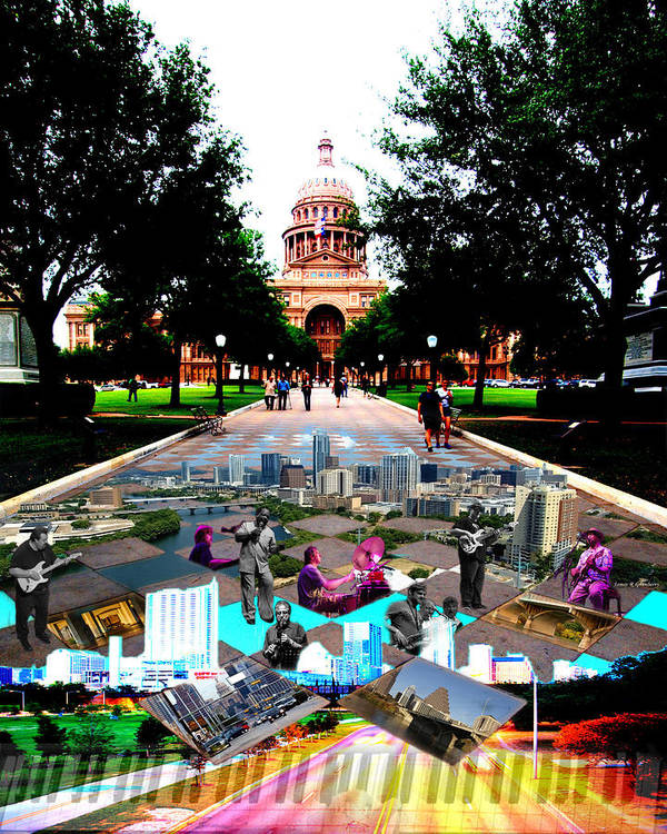 Austin Poster featuring the photograph Capital Collage Austin Music by James Granberry