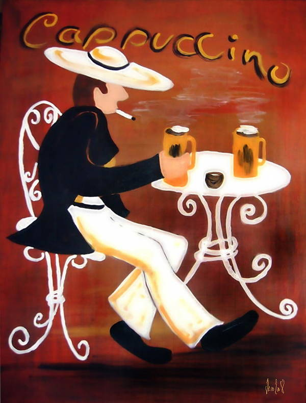 Cappuccino Poster featuring the painting Cappuccino by Helmut Rottler