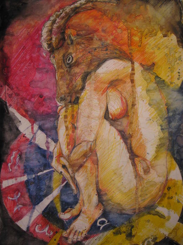 Painting Poster featuring the painting Capricorn by Brigitte Hintner