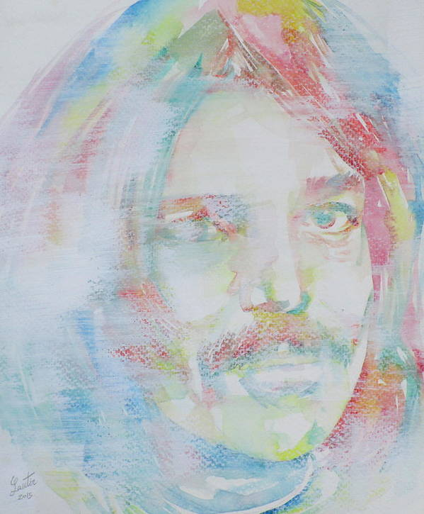 Captain Poster featuring the painting Captain Beefheart - Watercolor Portrait.6 by Fabrizio Cassetta