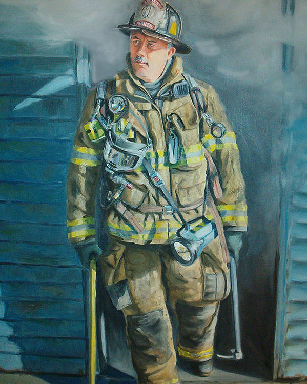 Firefighter Poster featuring the painting Captain Harris by Paul Walsh