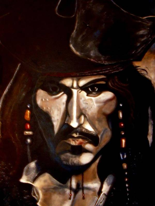 Captain Jack Sparrow Poster featuring the painting Captain Jack Sparrow by Herbert Renard