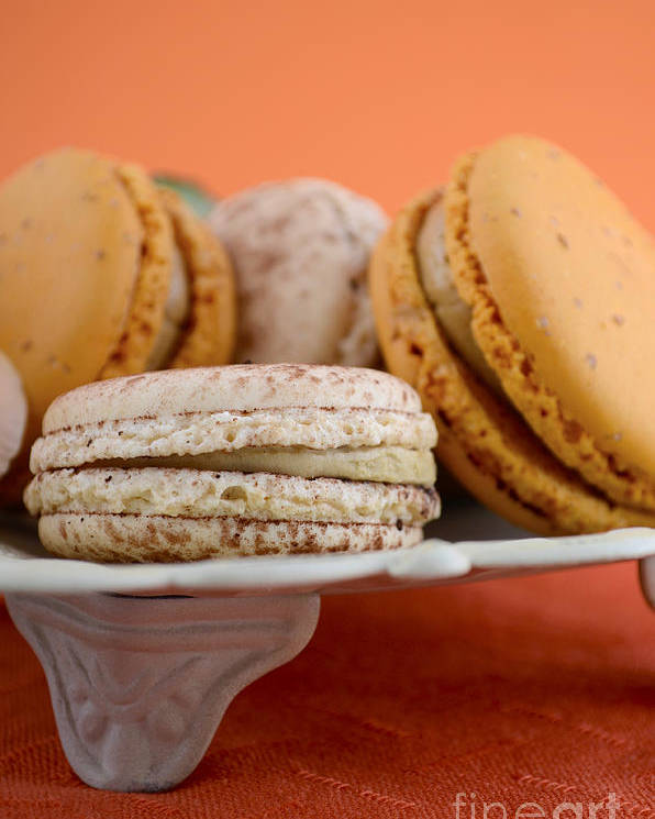 Bake Poster featuring the photograph Caramel And Vanilla Macaroons by Milleflore Images