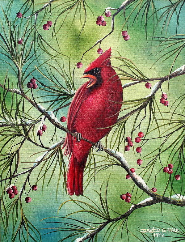 Cardinal Poster featuring the painting Cardinal by David G Paul